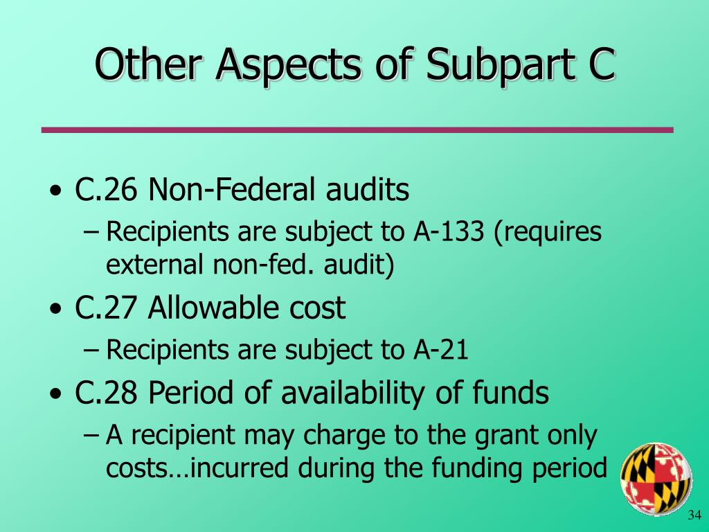 Other Aspects of Subpart C