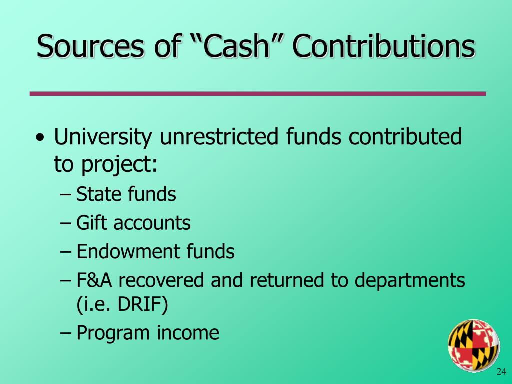 "Sources of ""Cash"" Contributions"