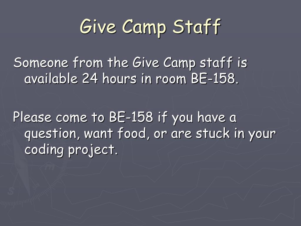 Give Camp Staff
