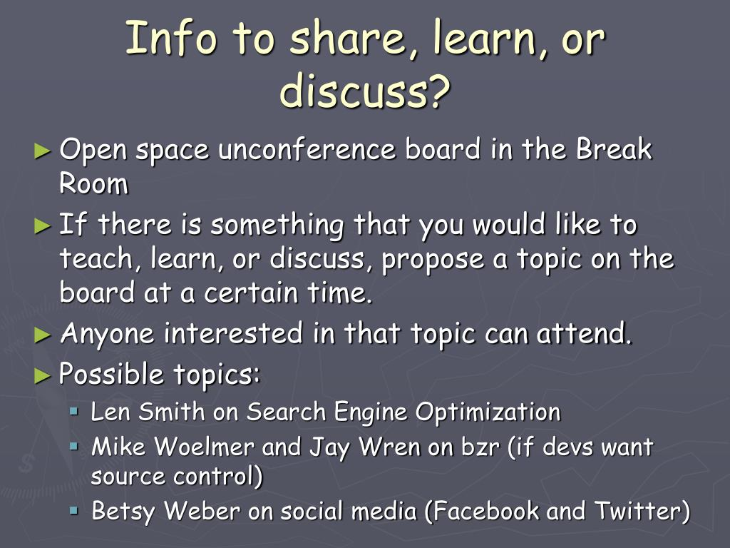 Info to share, learn, or discuss?