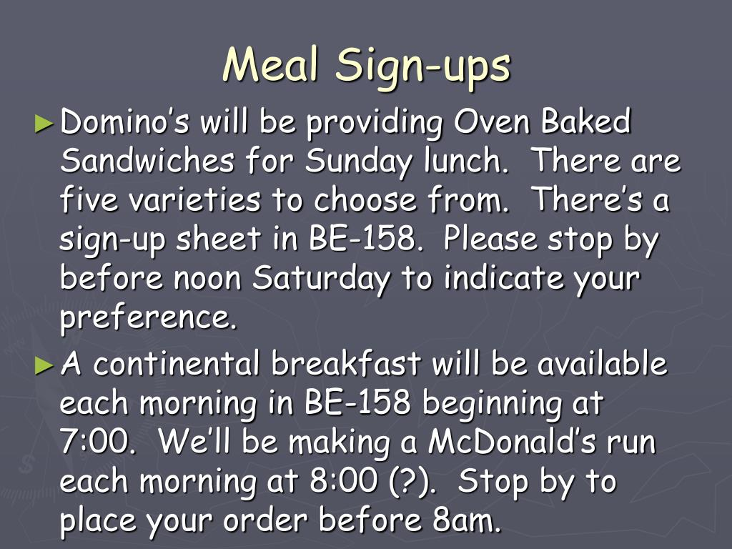 Meal Sign-ups