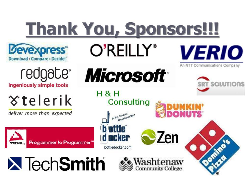 Thank You, Sponsors!!!