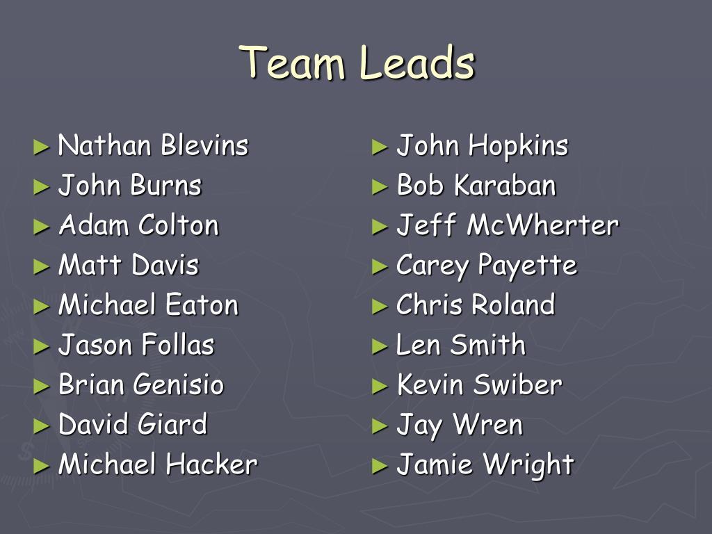 Team Leads
