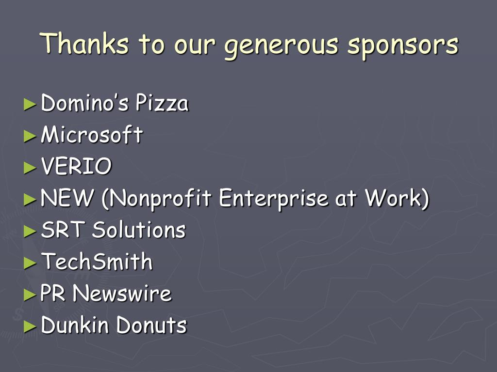 Thanks to our generous sponsors