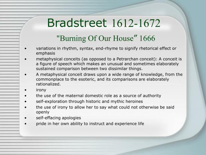 Bradstreet 1612 1672 burning of our house 1666