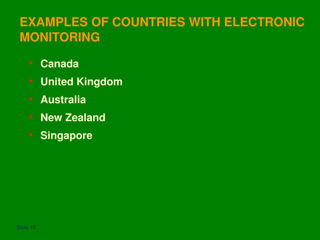 EXAMPLES OF COUNTRIES WITH ELECTRONIC MONITORING