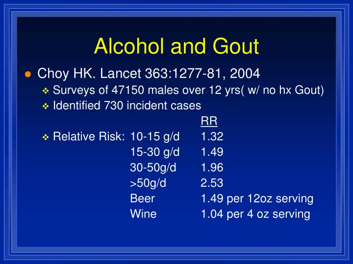 Alcohol and Gout