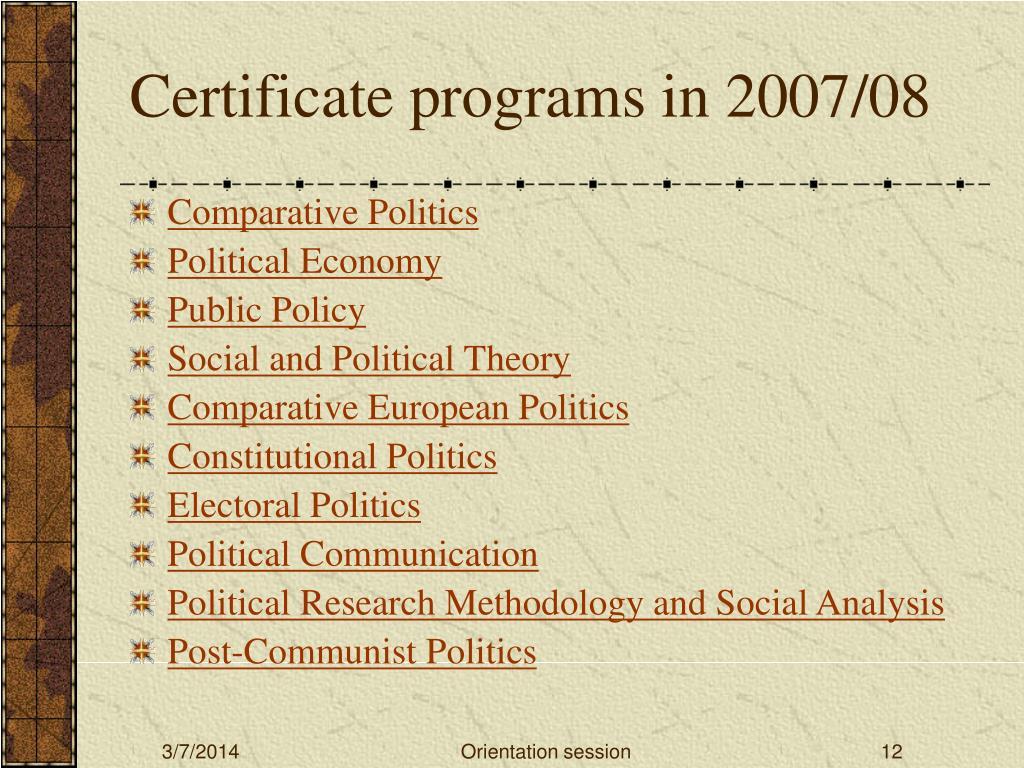 Certificate programs in 2007/08