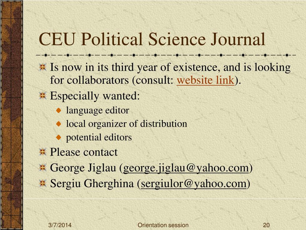 CEU Political Science Journal