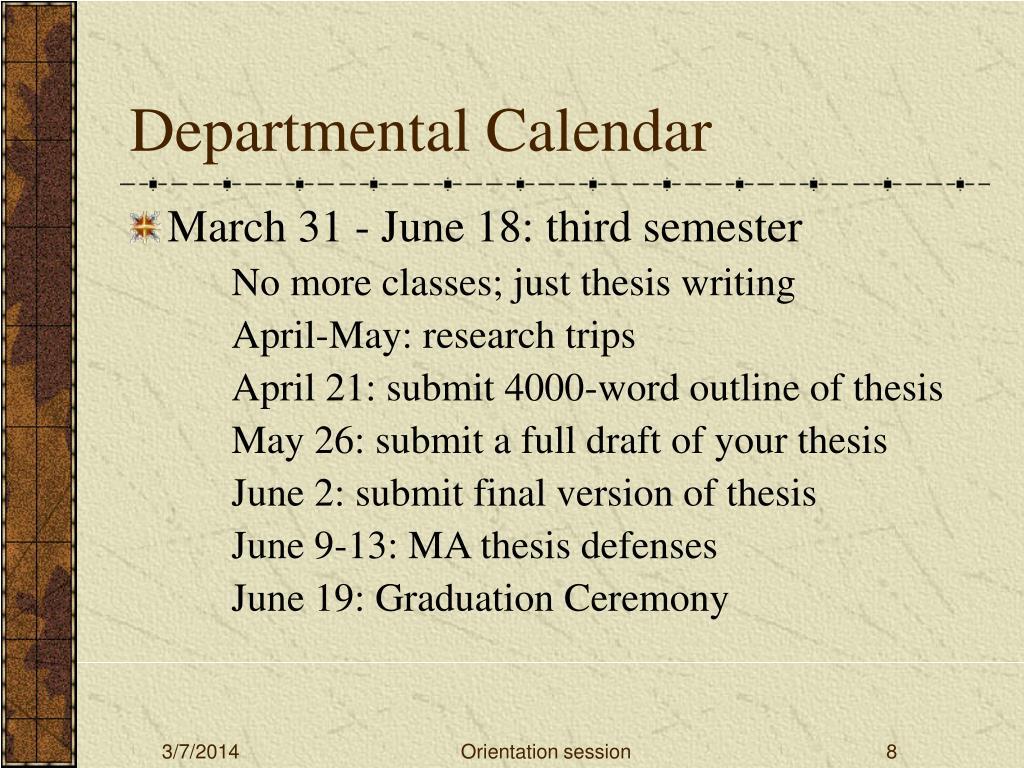 Departmental Calendar