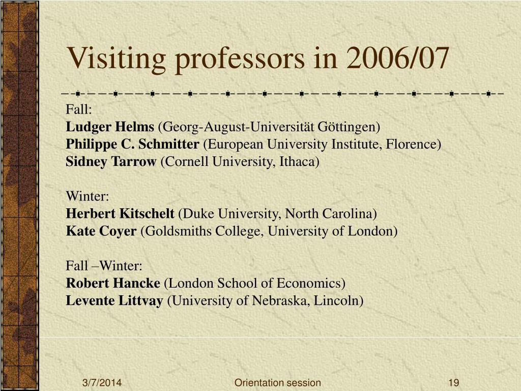 Visiting professors in 2006/07