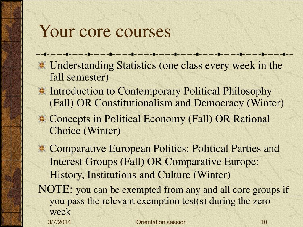 Your core courses