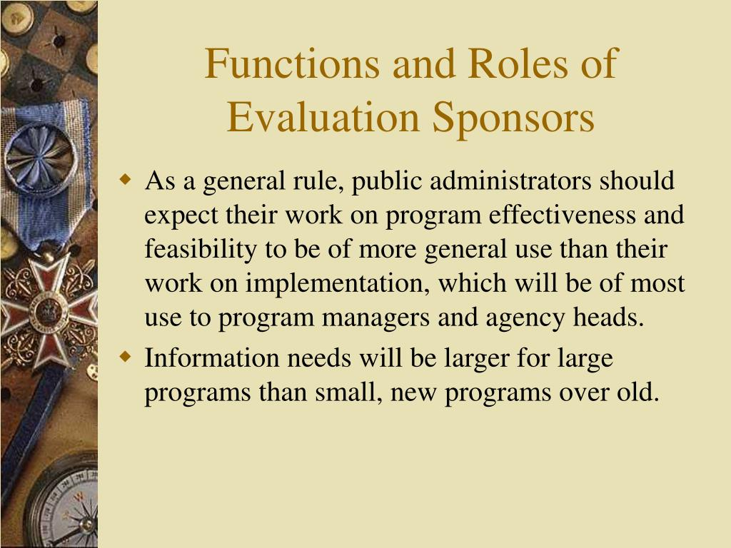 Functions and Roles of Evaluation Sponsors
