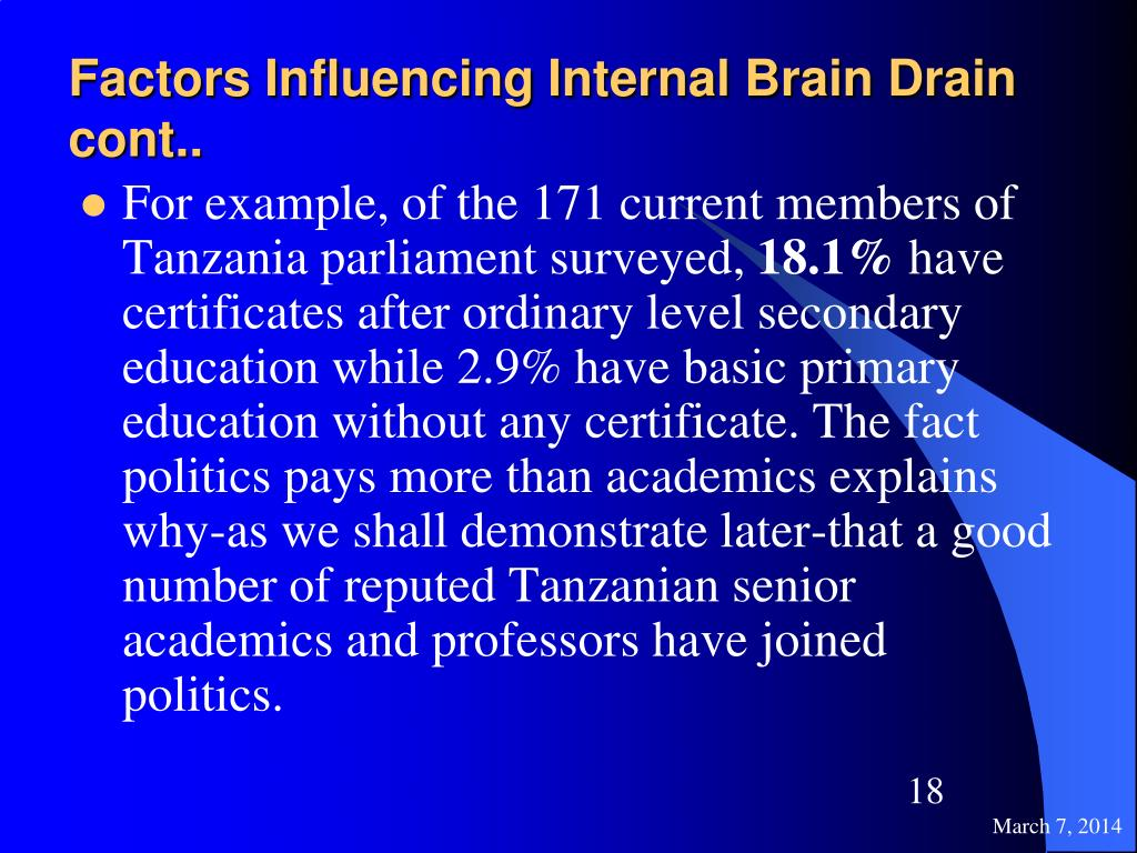 Factors Influencing Internal Brain Drain cont..