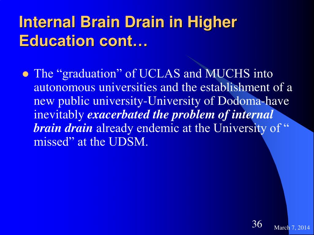 Internal Brain Drain in Higher Education cont…