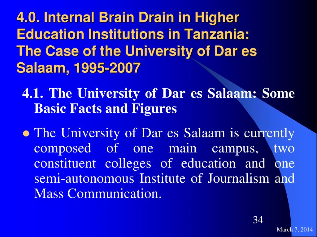 4.0. Internal Brain Drain in Higher Education Institutions in Tanzania: