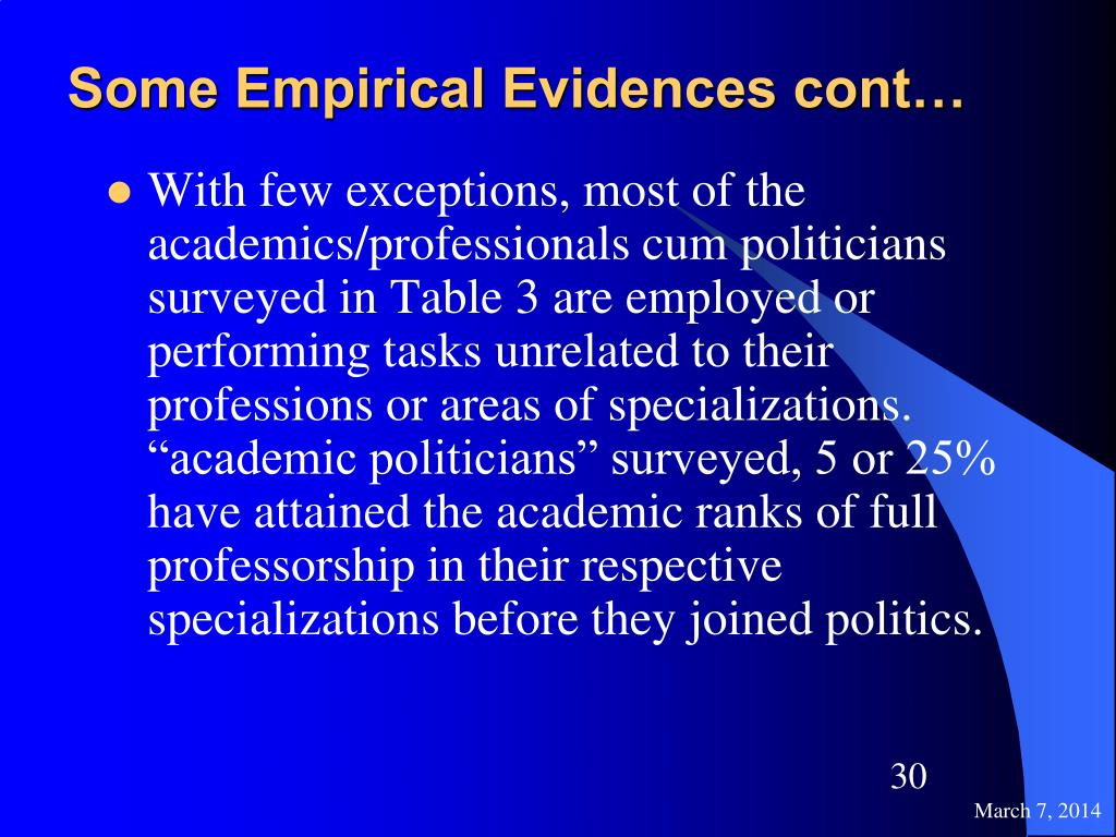 Some Empirical Evidences cont…