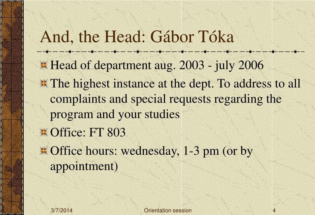 And, the Head: Gábor Tóka
