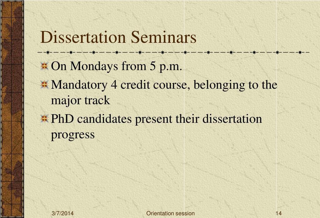 Dissertation Seminars