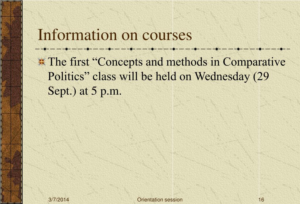 Information on courses