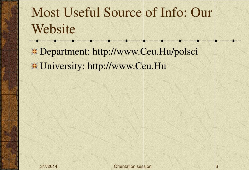 Most Useful Source of Info: Our Website