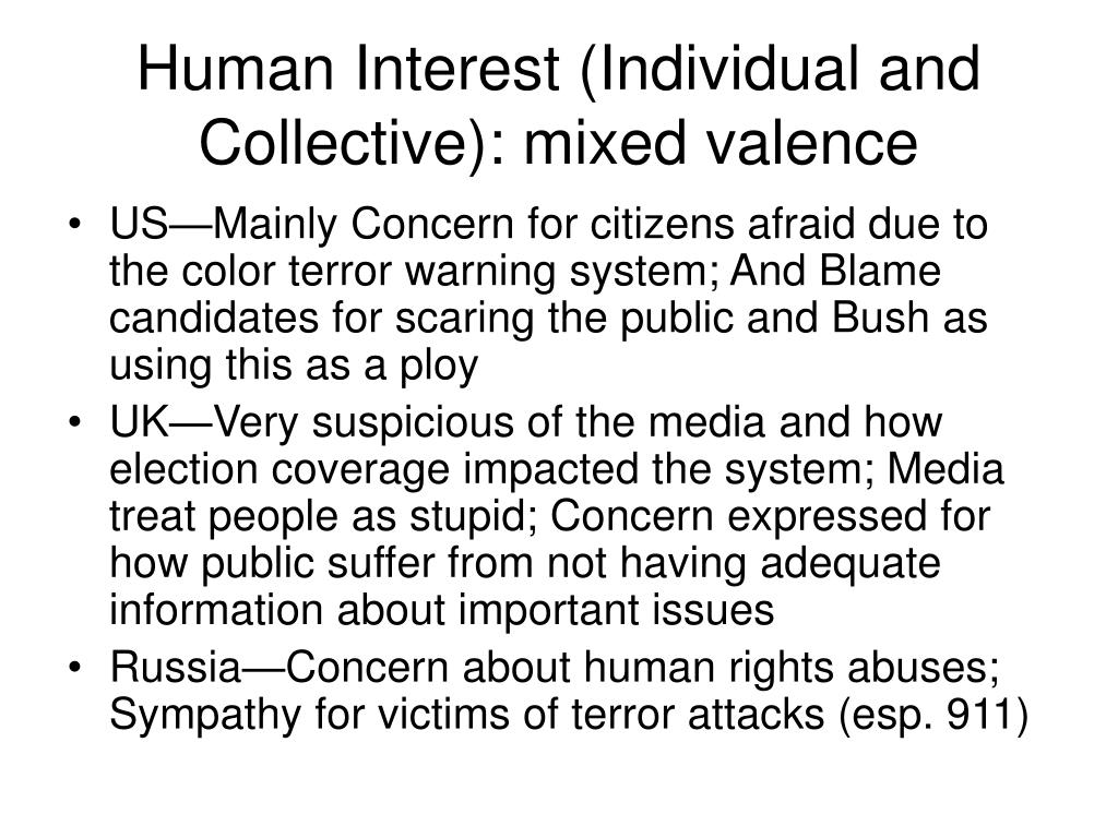 Human Interest (Individual and Collective): mixed valence