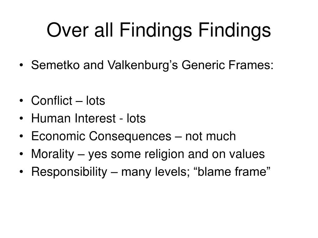Over all Findings Findings
