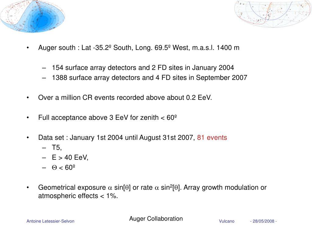 Auger south : Lat -35.2º South, Long. 69.5º West, m.a.s.l. 1400 m