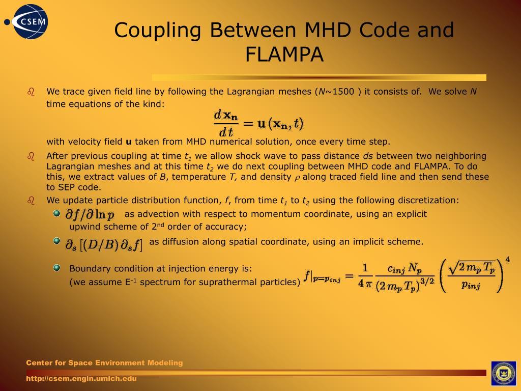 Coupling Between MHD Code and FLAMPA