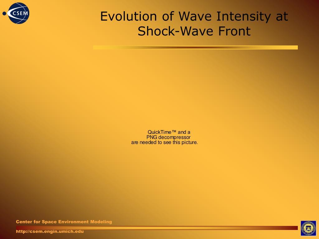 Evolution of Wave Intensity at Shock-Wave Front