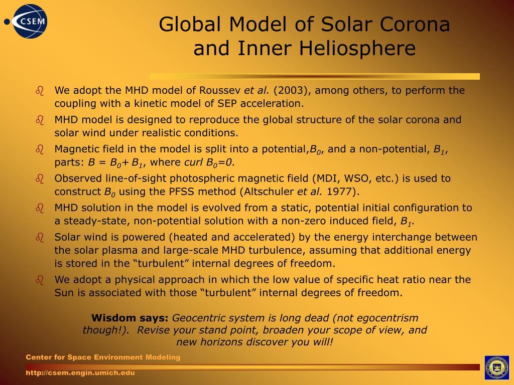 Global Model of Solar Corona and Inner Heliosphere