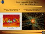 real magnetic data drive mhd simulations