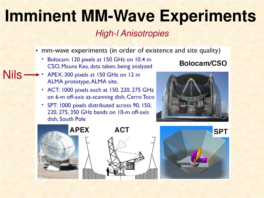 Imminent MM-Wave Experiments