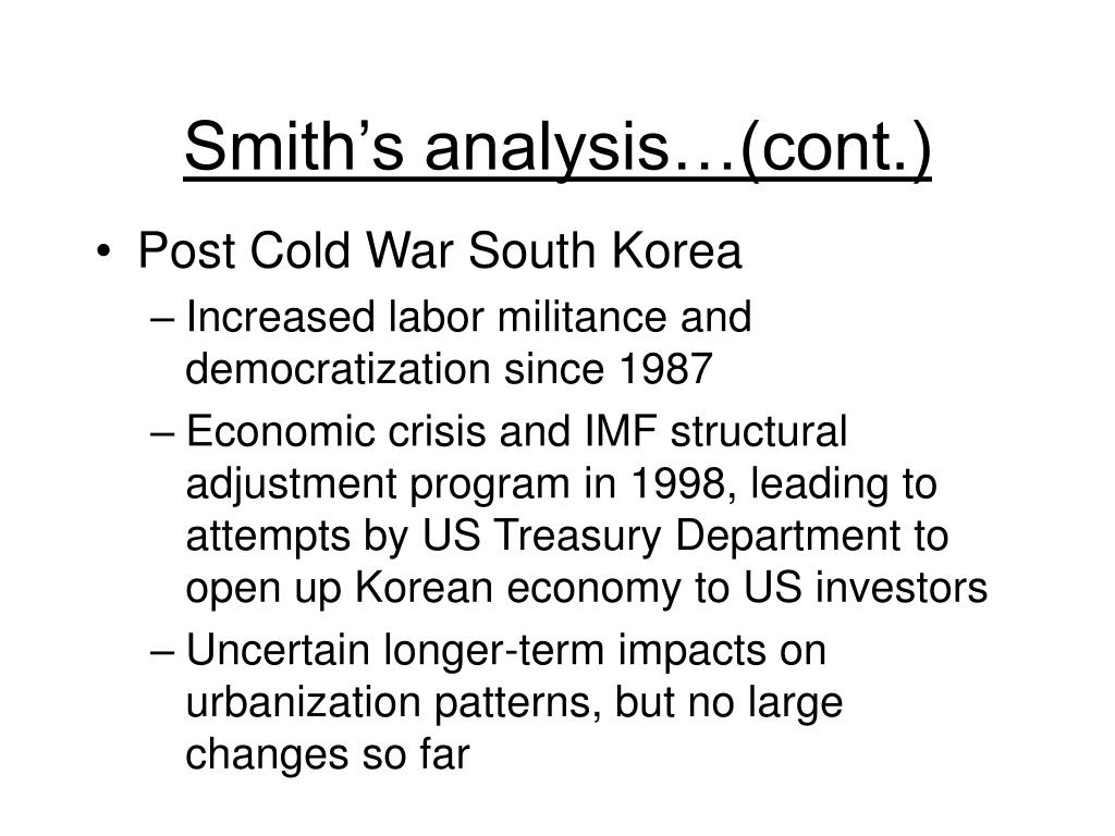Smith's analysis…(cont.)