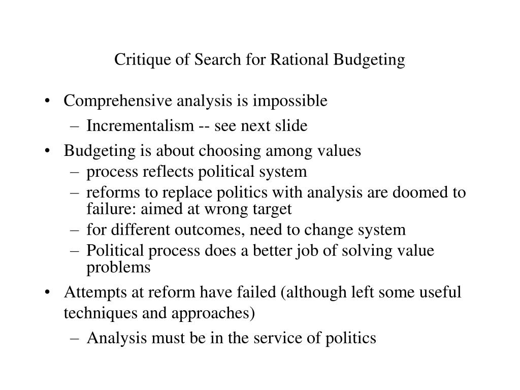 Critique of Search for Rational Budgeting
