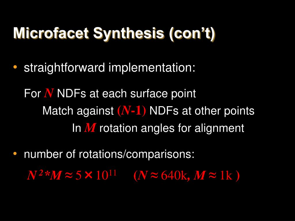 Microfacet Synthesis (con't)