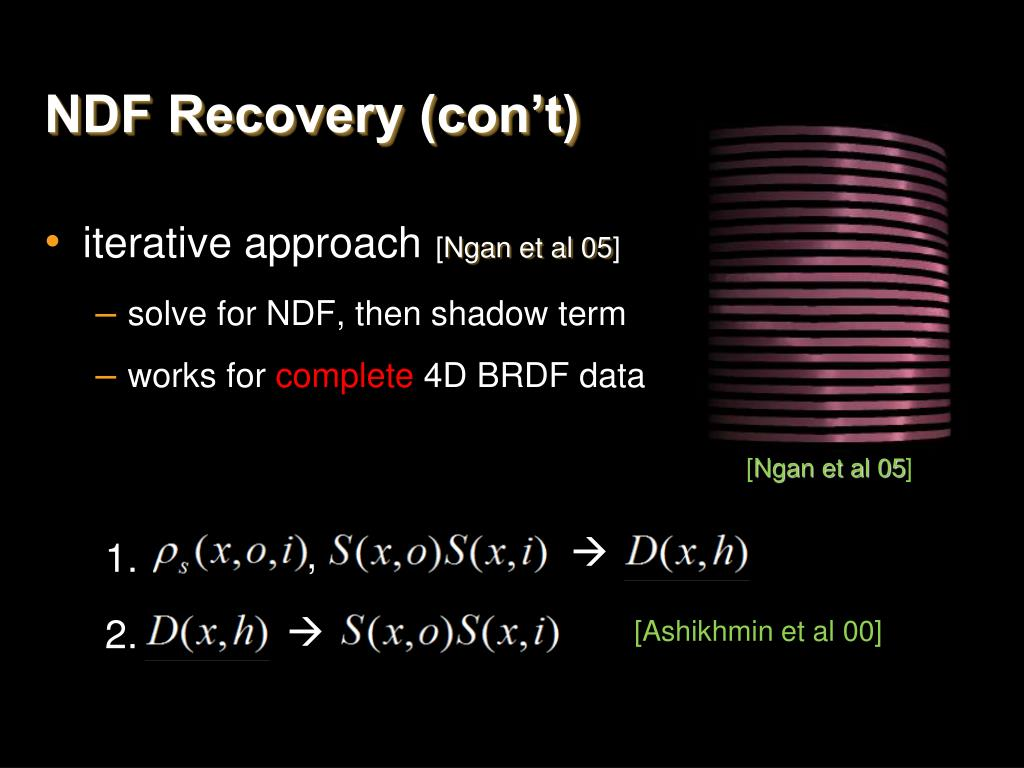 NDF Recovery (con't)