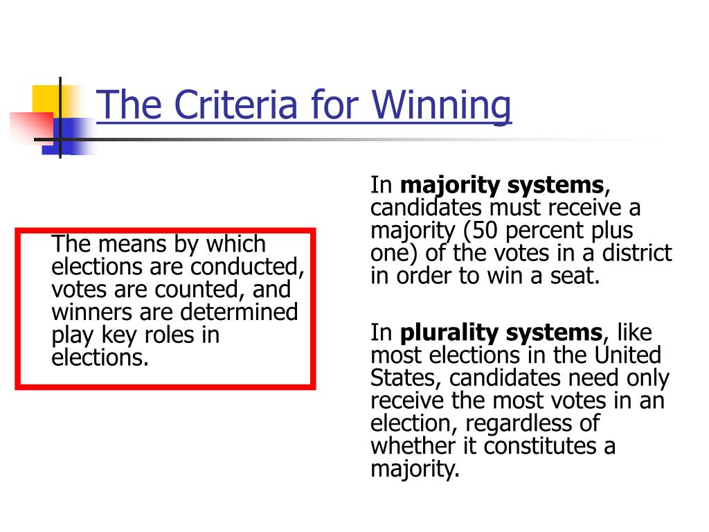 The means by which elections are conducted, votes are counted, and winners are determined play key roles in elections.