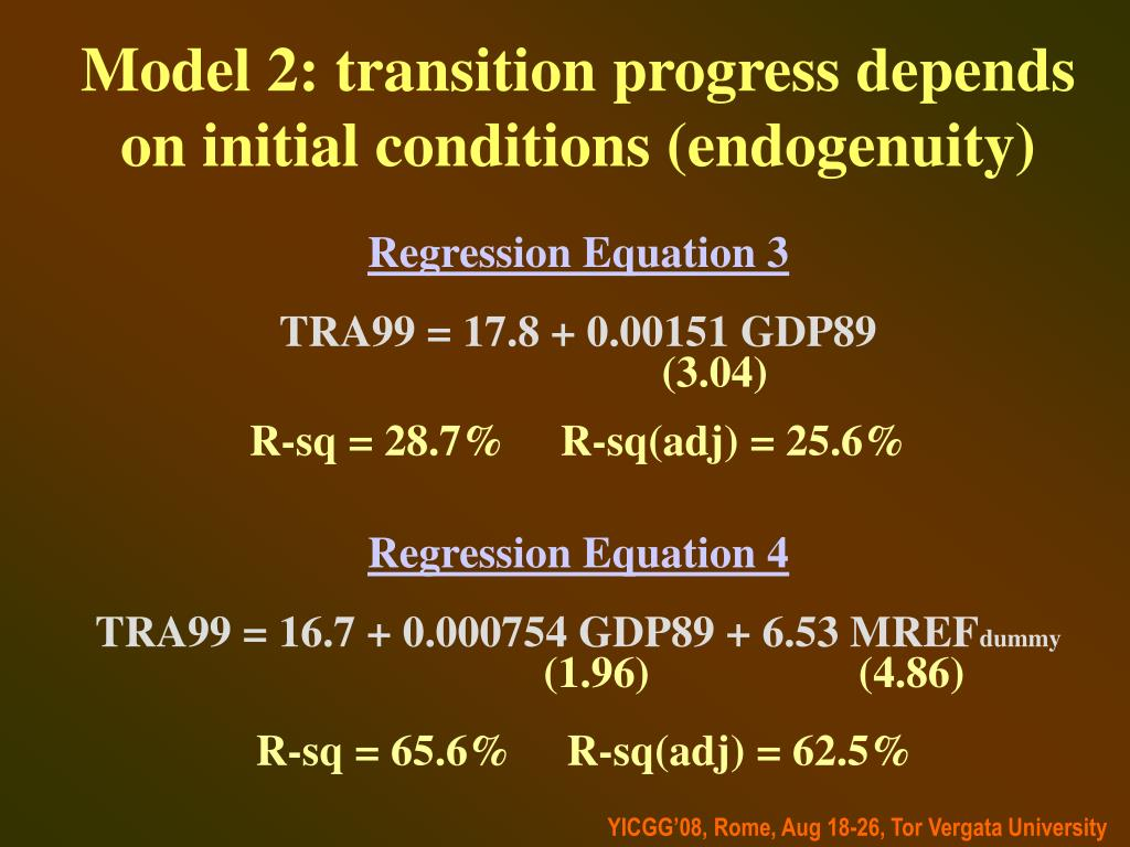 Model 2: transition progress depends on initial conditions (endogenuity)