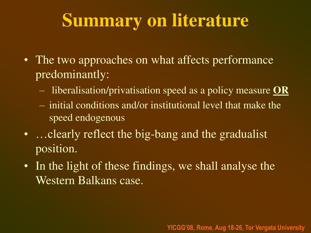 Summary on literature