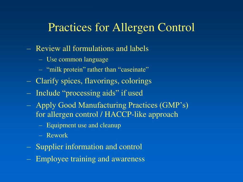 Practices for Allergen Control