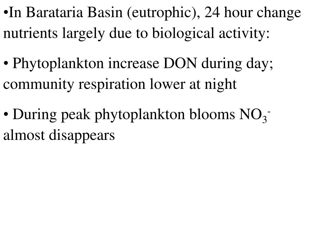 In Barataria Basin (eutrophic), 24 hour change nutrients largely due to biological activity: