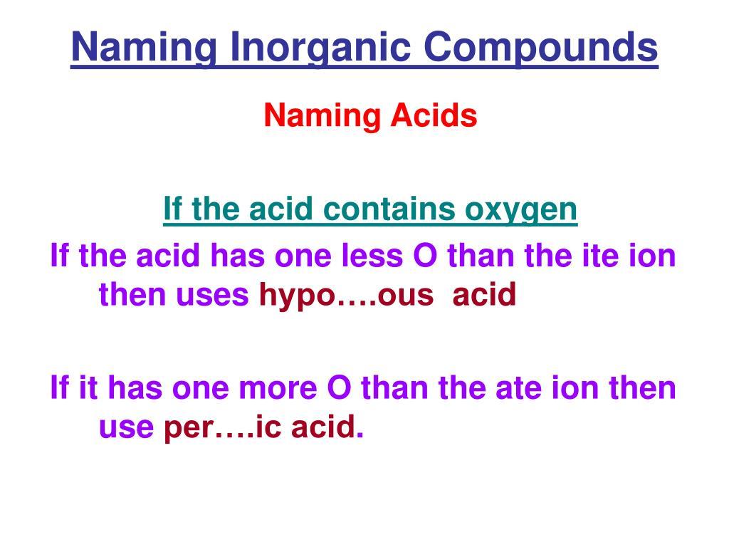 Naming Inorganic Compounds
