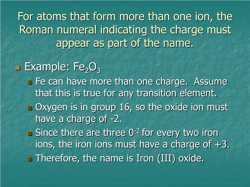 For atoms that form more than one ion, the Roman numeral indicating the charge must appear as part of the name.