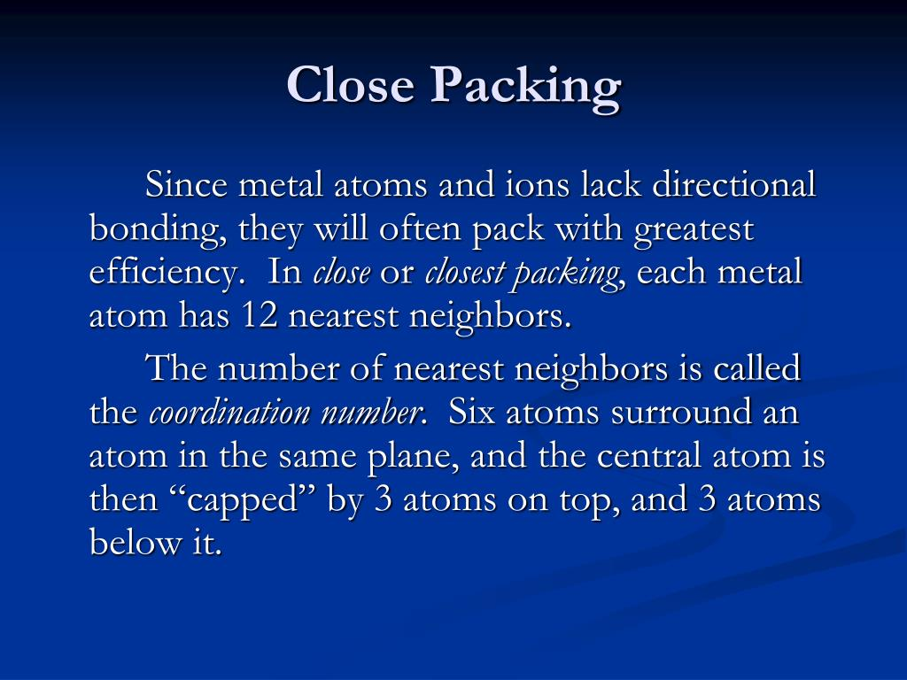 Close Packing
