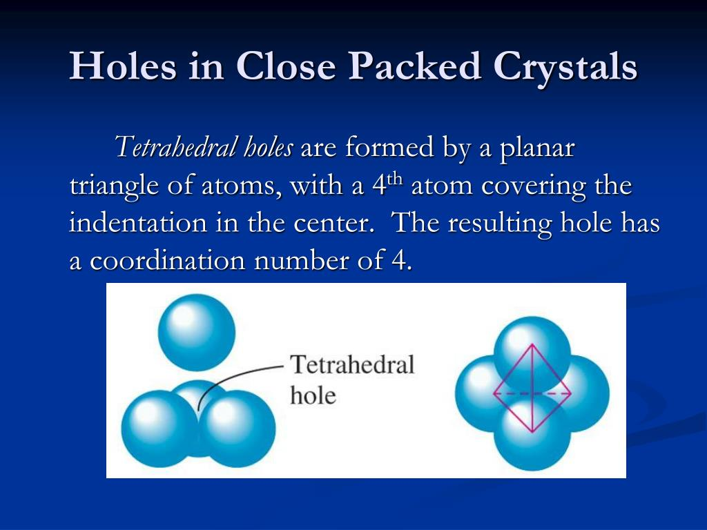 Holes in Close Packed Crystals