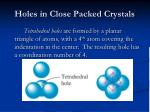 holes in close packed crystals13