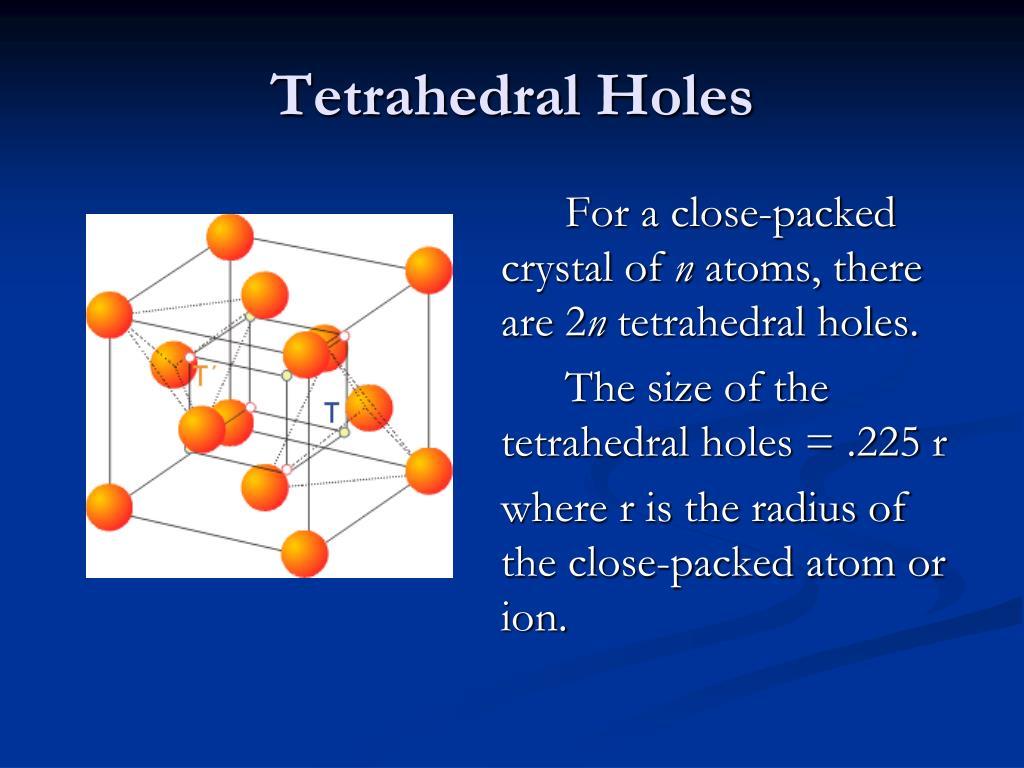 Tetrahedral Holes
