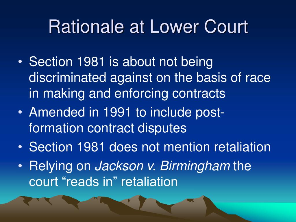 Rationale at Lower Court