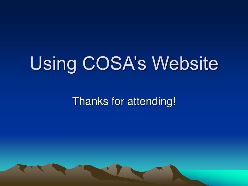 Using COSA's Website